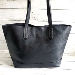 Cole Haan Pebbled Black Leather Tote Bag
